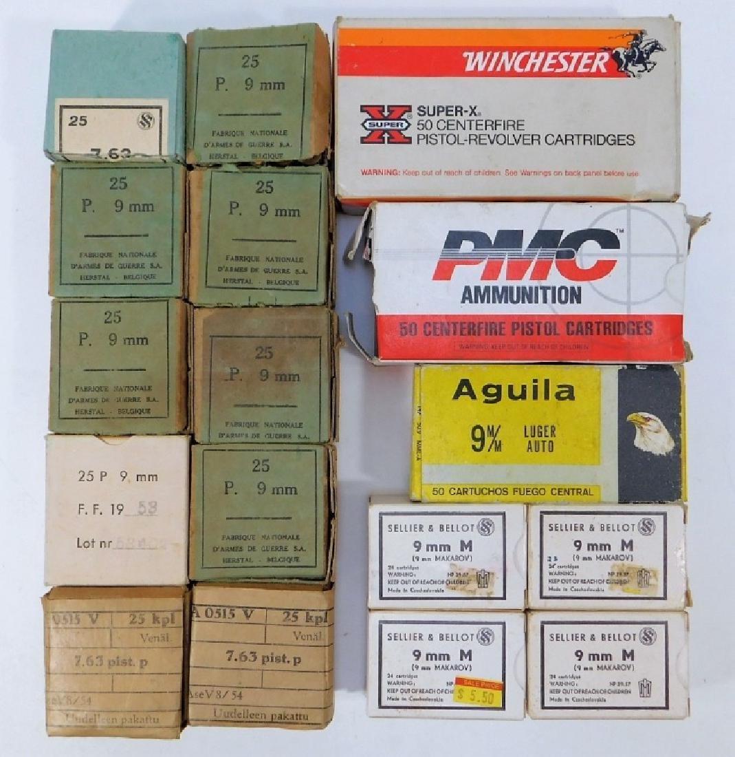 Ammunition for 9mm Pistol, WWII Vintage