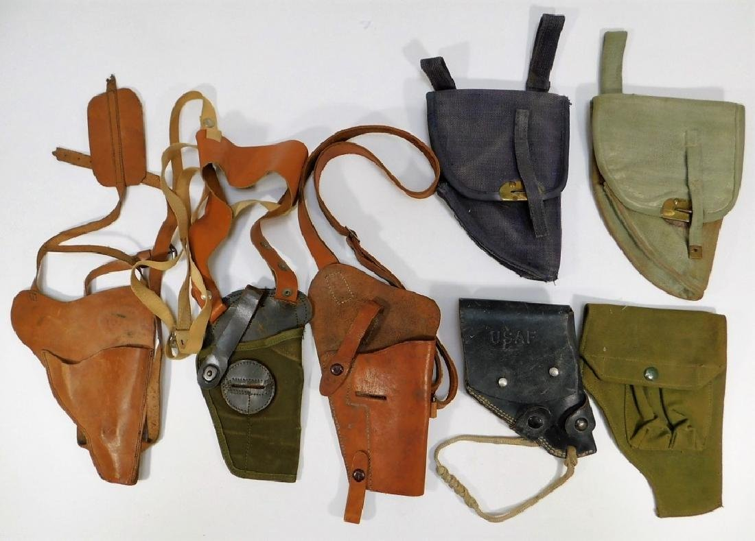 WWII -1960 Period Leather Canvas Pistol Holsters