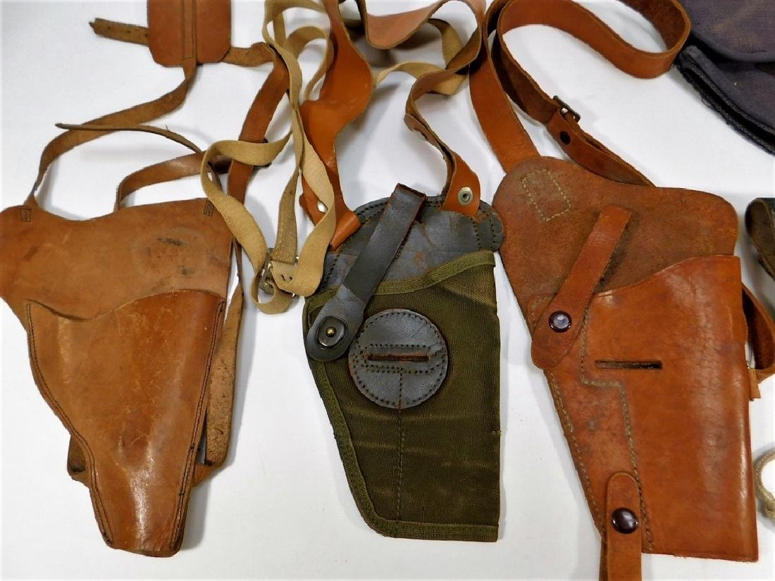 WWII -1960 Period Leather Canvas Pistol Holsters - 2