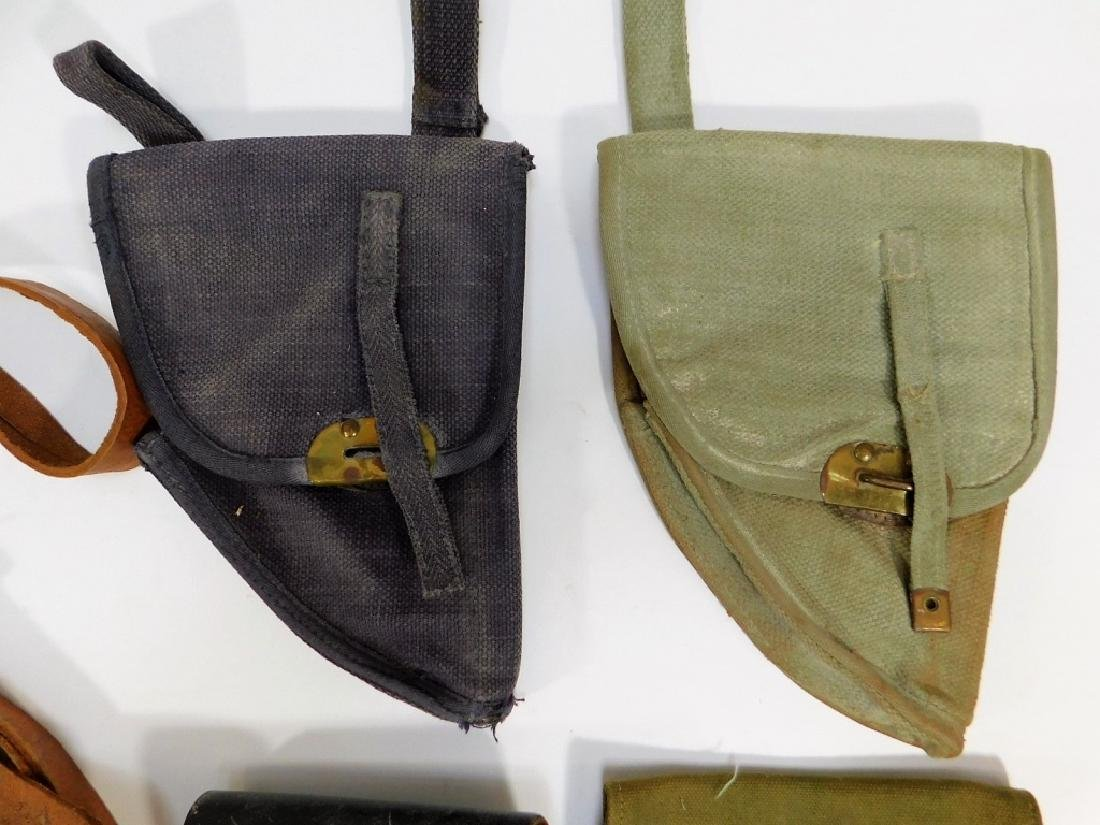WWII -1960 Period Leather Canvas Pistol Holsters - 3
