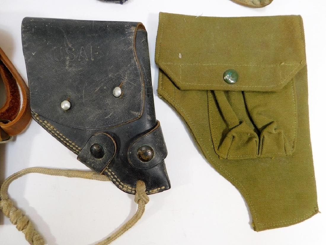 WWII -1960 Period Leather Canvas Pistol Holsters - 4