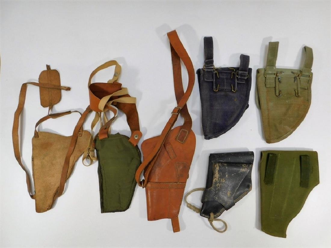 WWII -1960 Period Leather Canvas Pistol Holsters - 5
