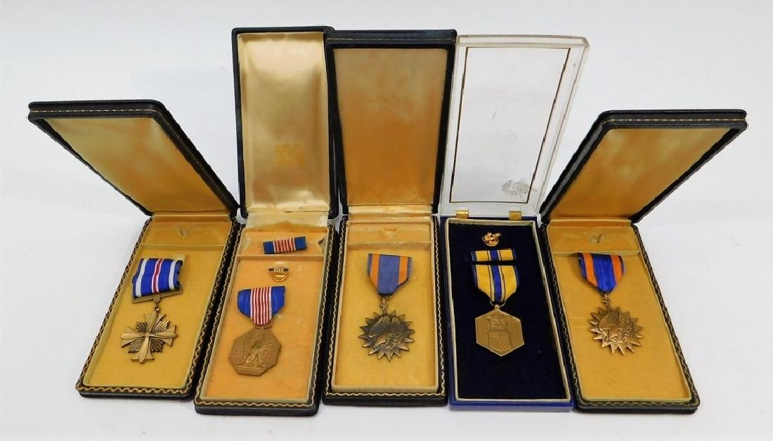 WWII - Korean War Issued Cased Medals (5)