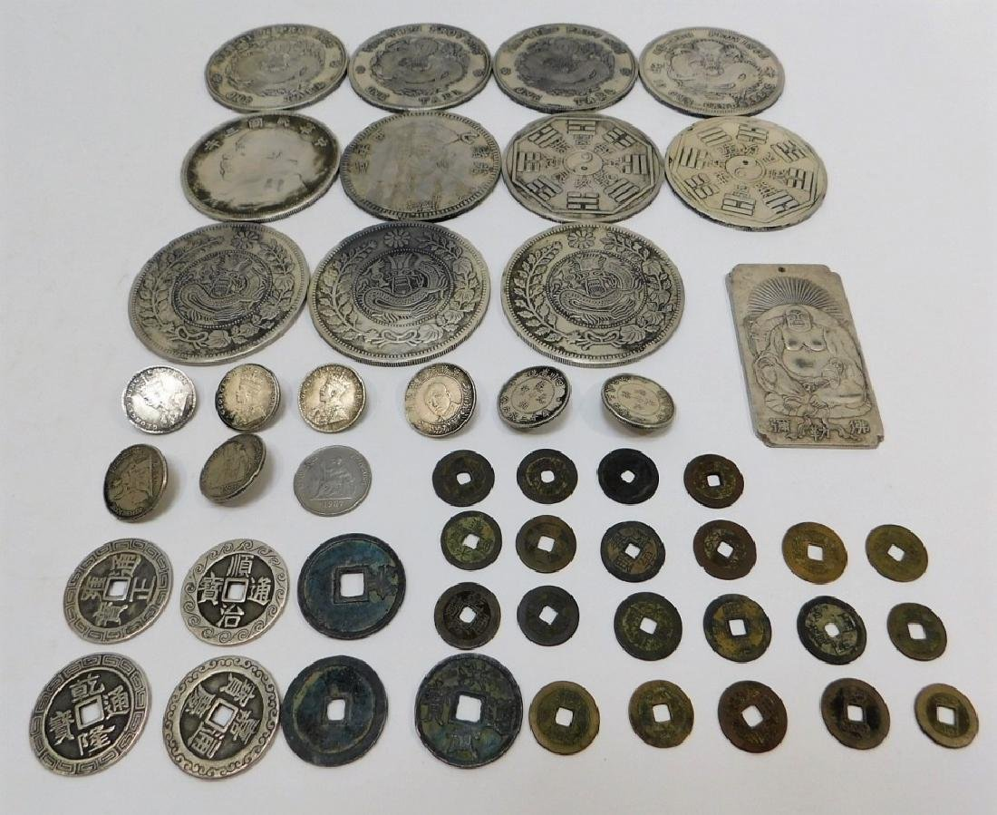 Silver Coin Buttons (9) and Other Coins