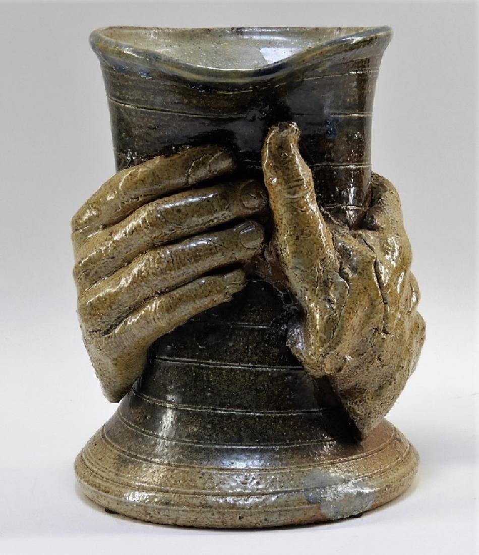 Contemporary Raku Pottery Free Form Hands Vase