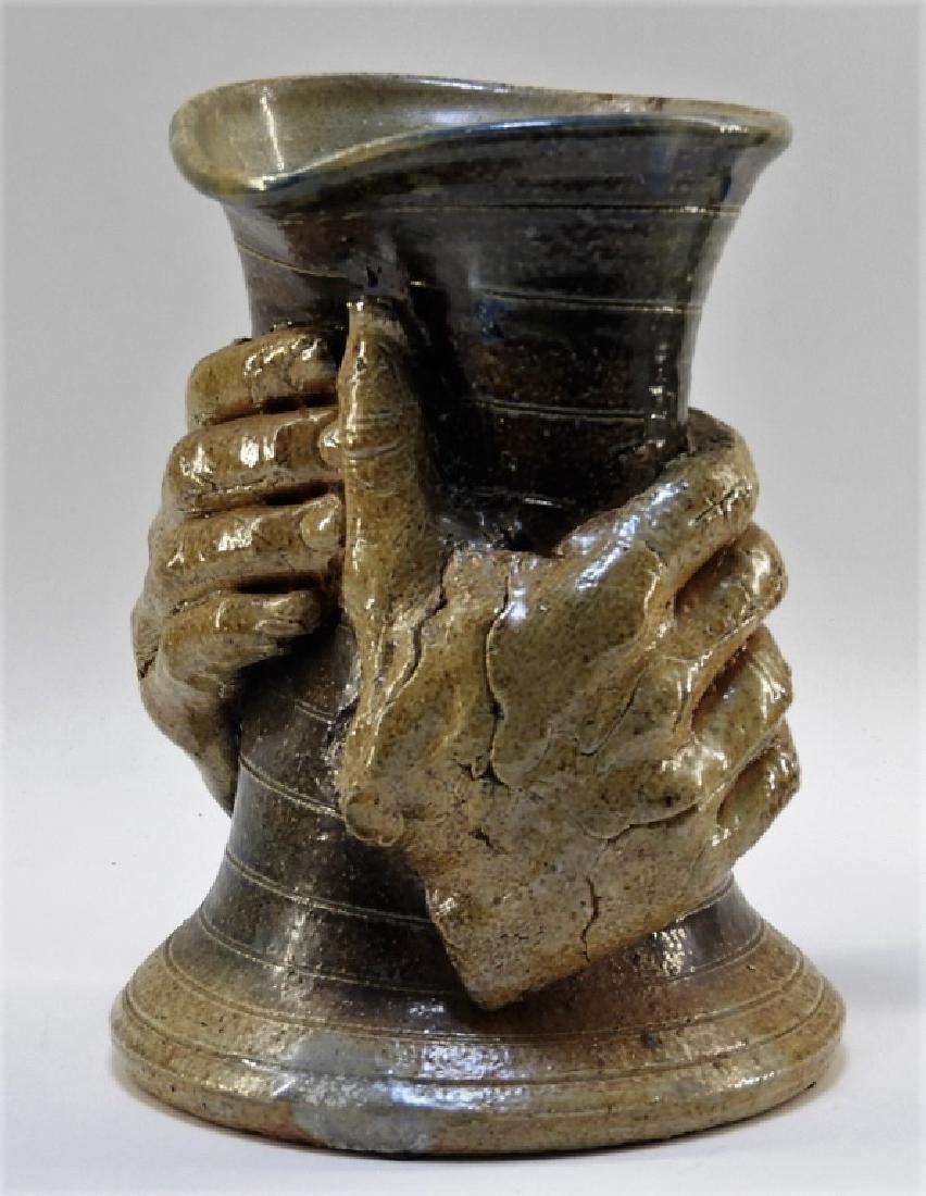Contemporary Raku Pottery Free Form Hands Vase - 2