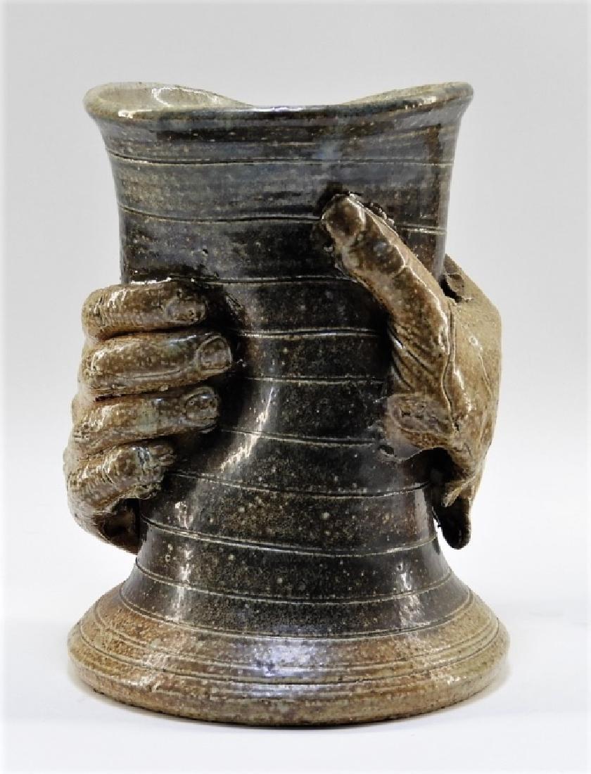 Contemporary Raku Pottery Free Form Hands Vase - 3