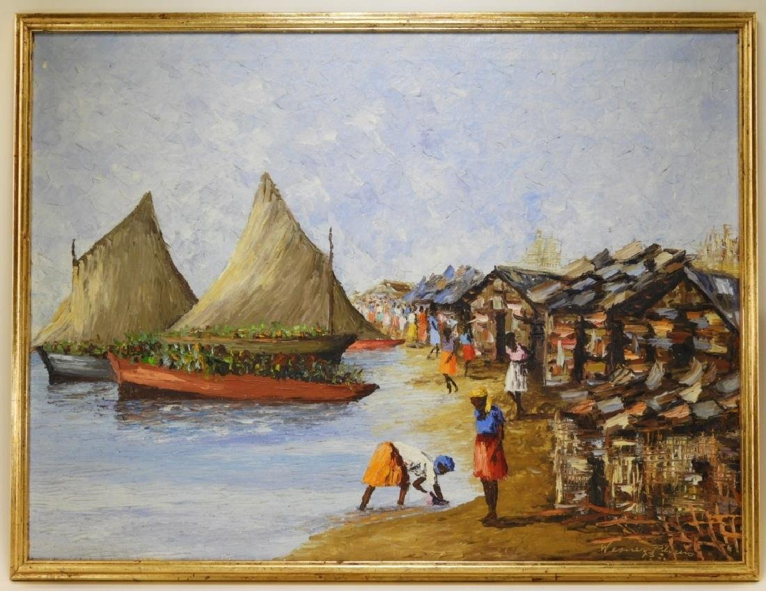 Wesner Pierre-Louis Haitian Village Painting