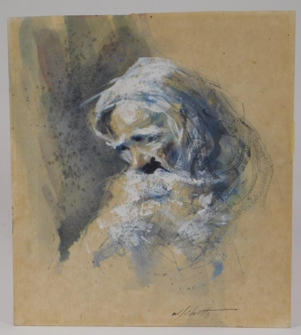 William Schultz Impressionist WC Old Man Painting