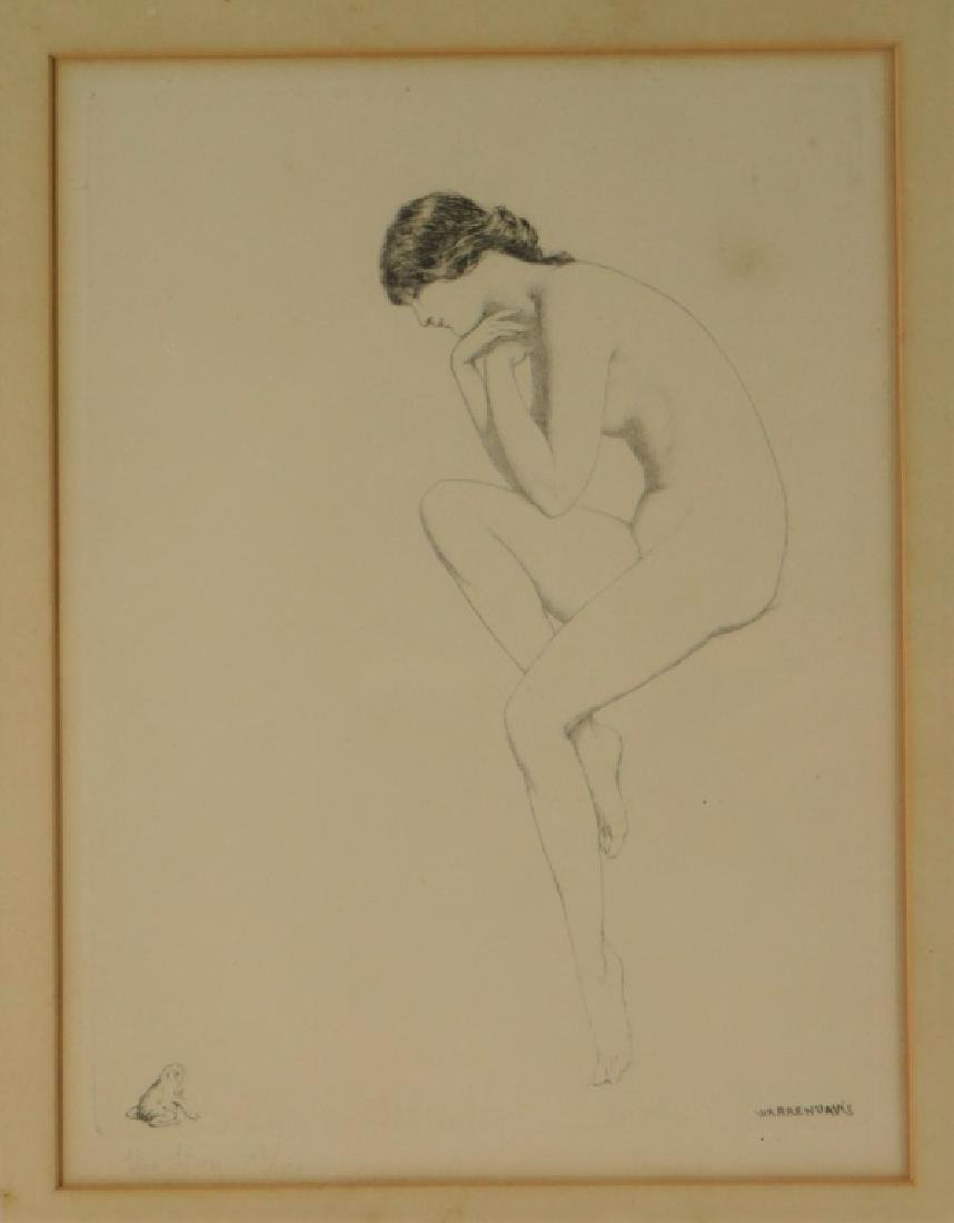Warren Davis The Frog Female Nude Etching