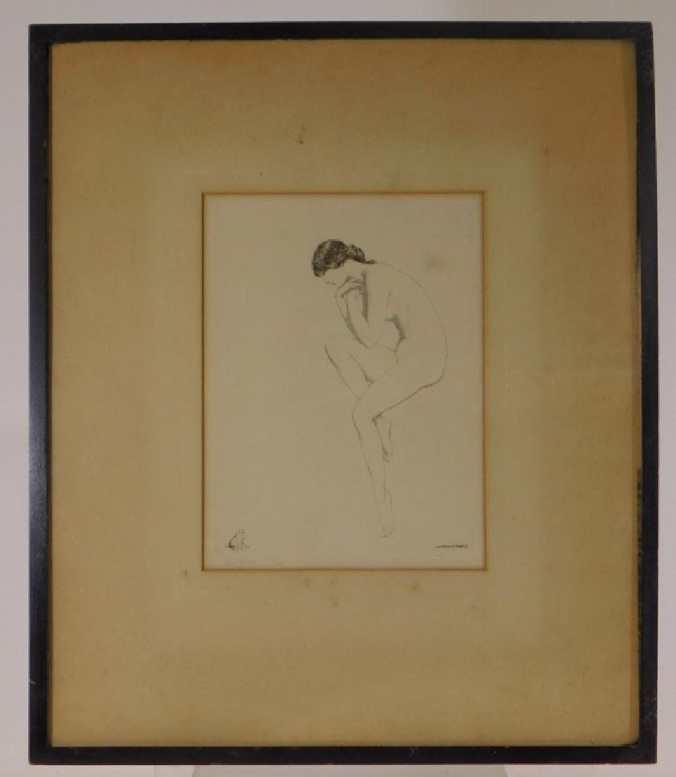 Warren Davis The Frog Female Nude Etching - 2
