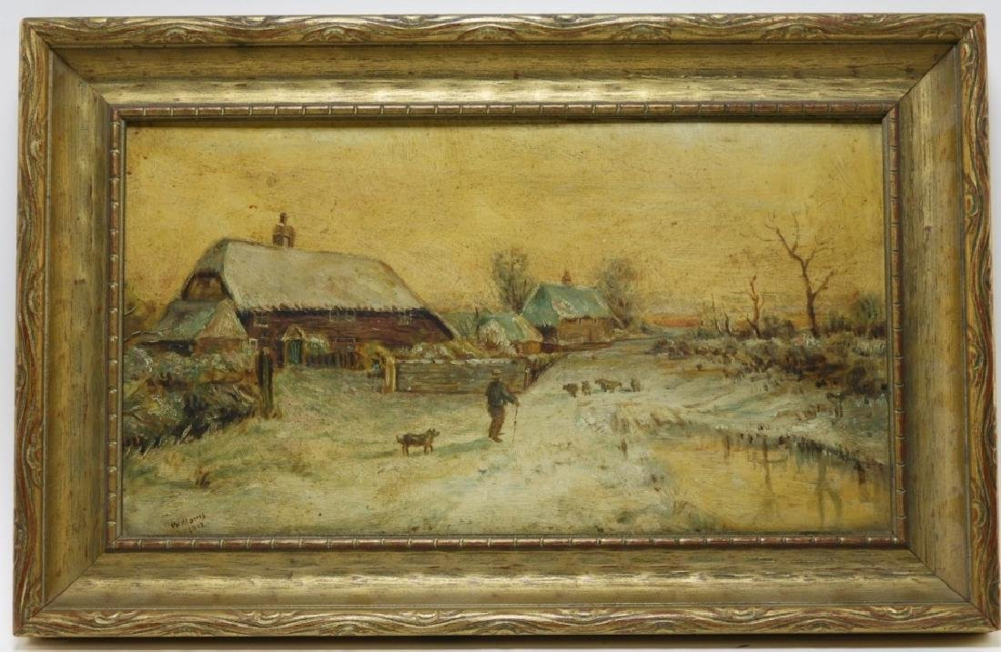 American School Winter Landscape Farm Painting