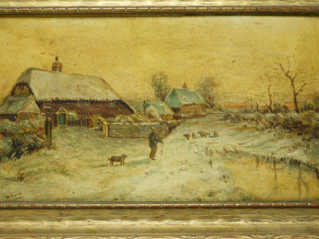 American School Winter Landscape Farm Painting - 2
