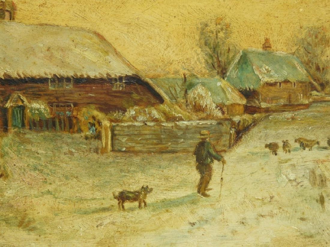 American School Winter Landscape Farm Painting - 3
