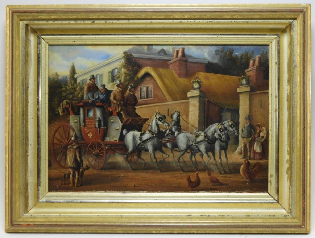 English Stagecoach Street Scene Oil Painting