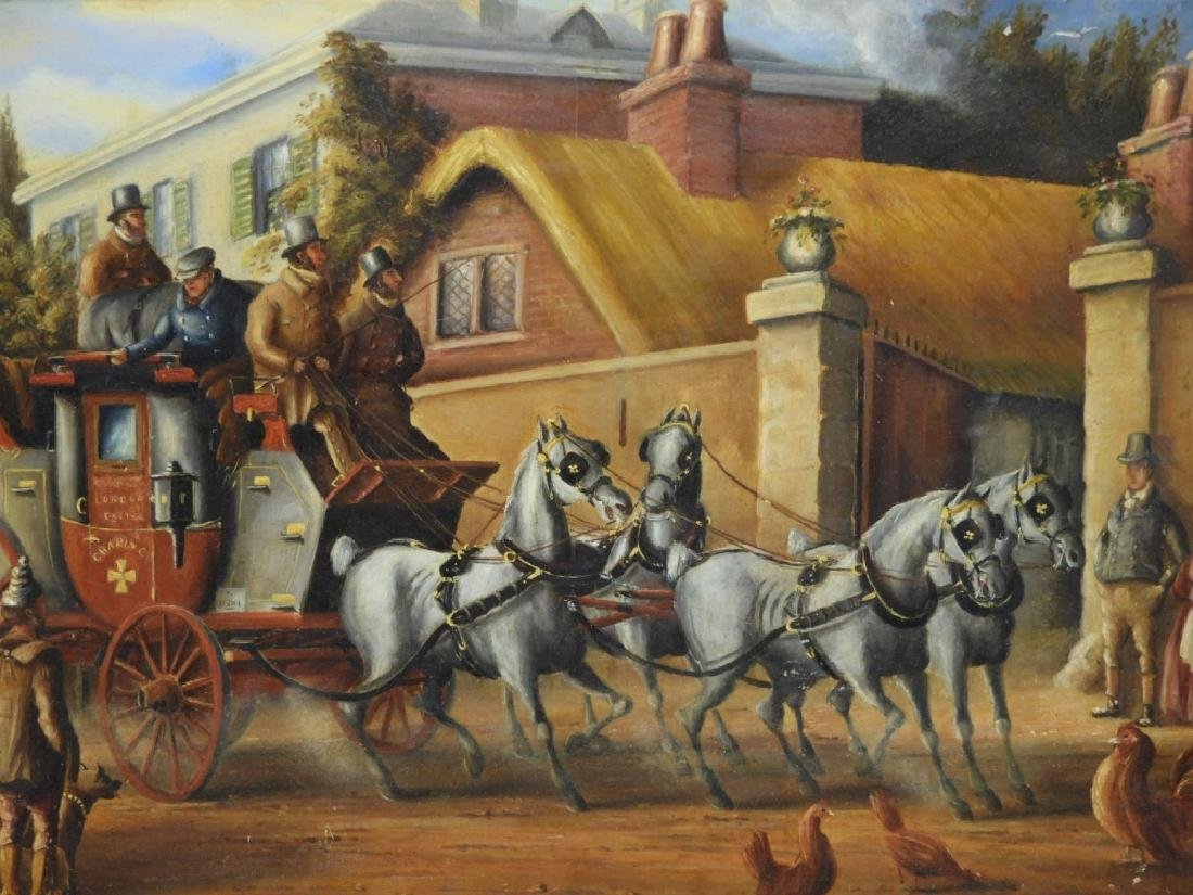 English Stagecoach Street Scene Oil Painting - 2
