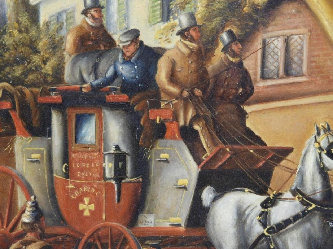 English Stagecoach Street Scene Oil Painting - 3