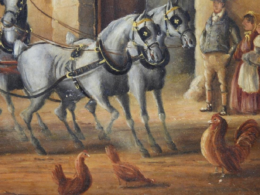 English Stagecoach Street Scene Oil Painting - 4