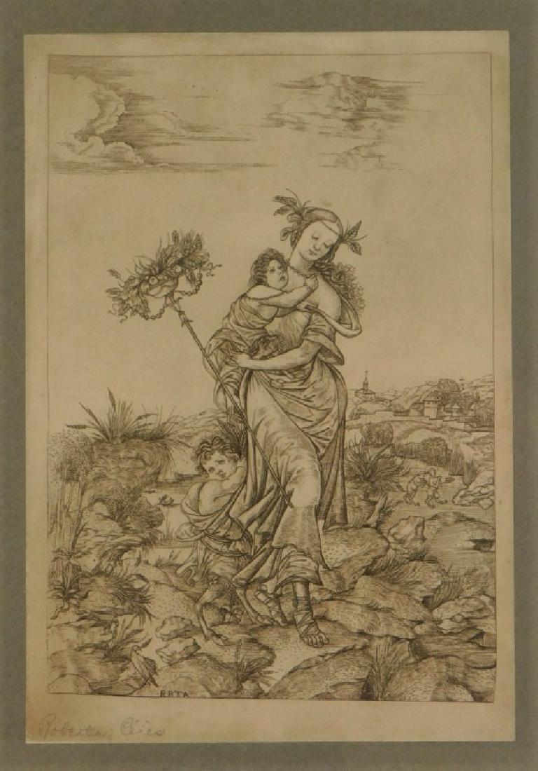 Cristofano Robetta Ceres Allegorical Satyr Gravure