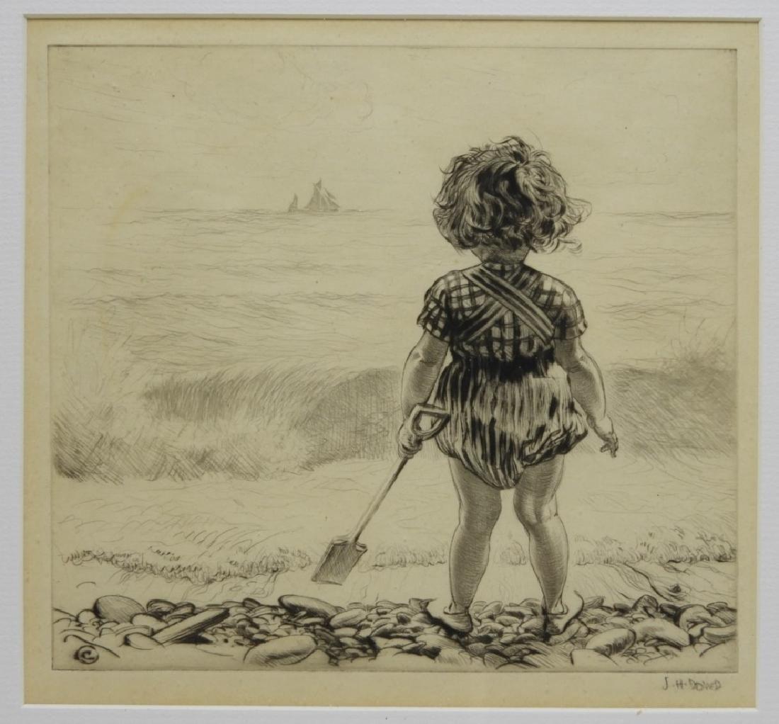 James Henry Dowd Children On Beach Etching