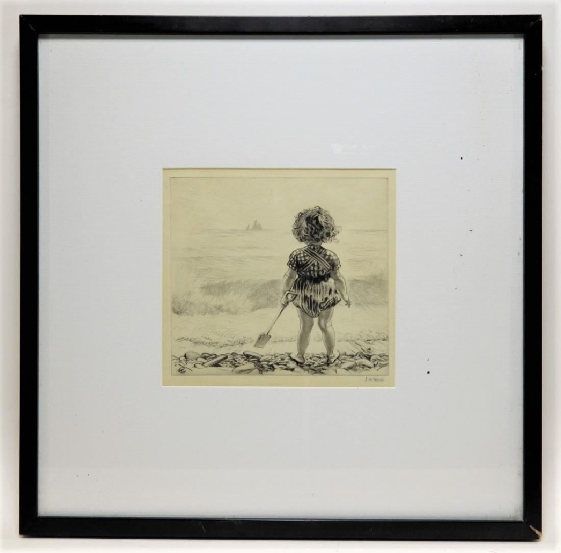 James Henry Dowd Children On Beach Etching - 2