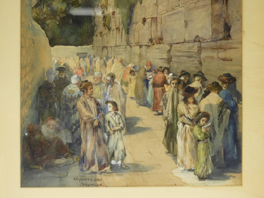 Anna Rychter-May Realist Judaic Jerusalem Painting - 3
