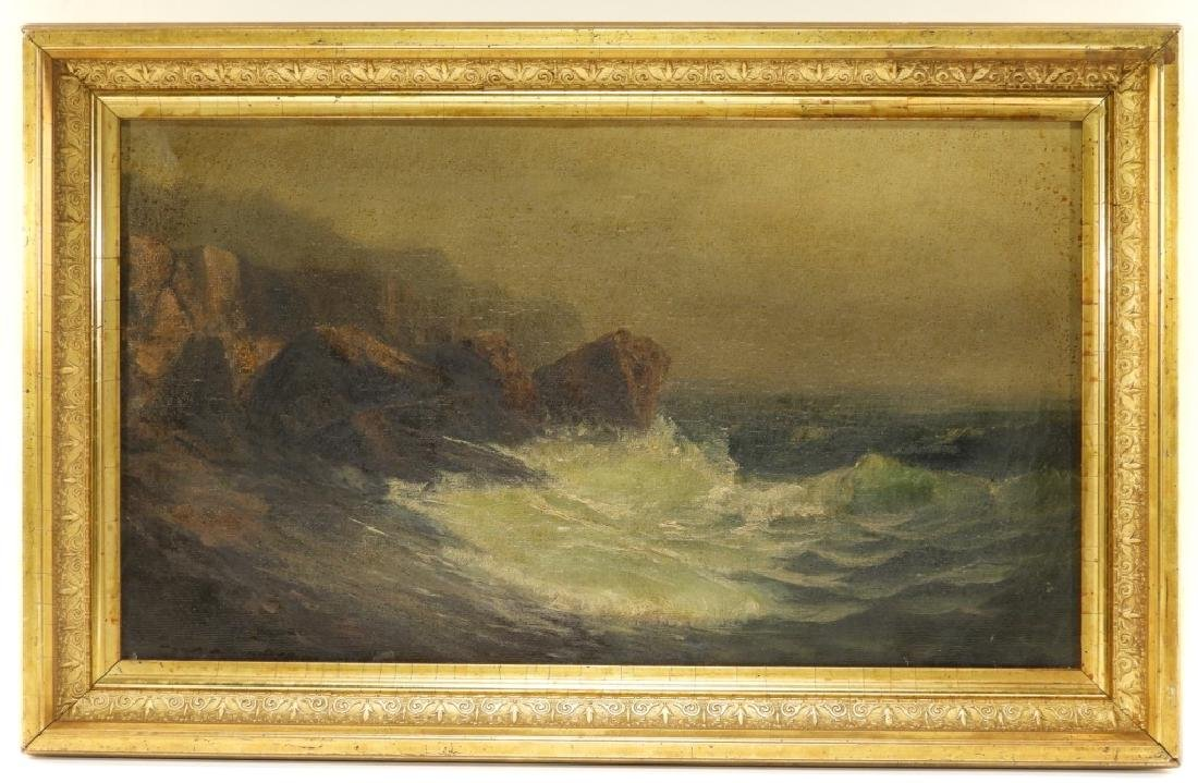 19C. American Coastal Seascape Wave O/C Painting