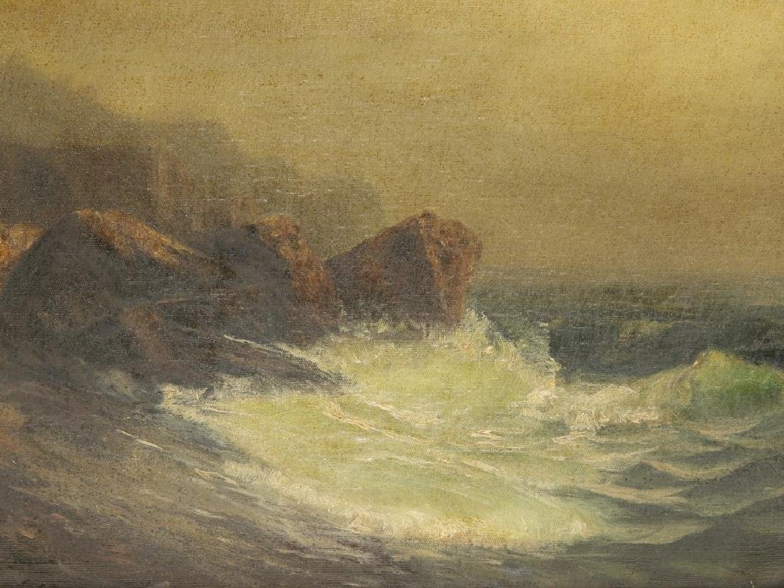 19C. American Coastal Seascape Wave O/C Painting - 2