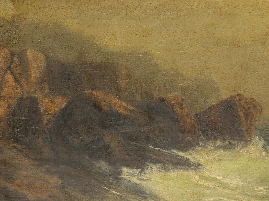 19C. American Coastal Seascape Wave O/C Painting - 3