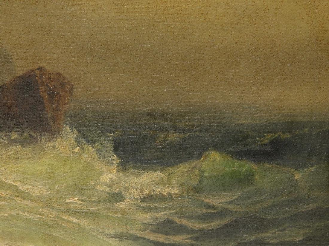 19C. American Coastal Seascape Wave O/C Painting - 4