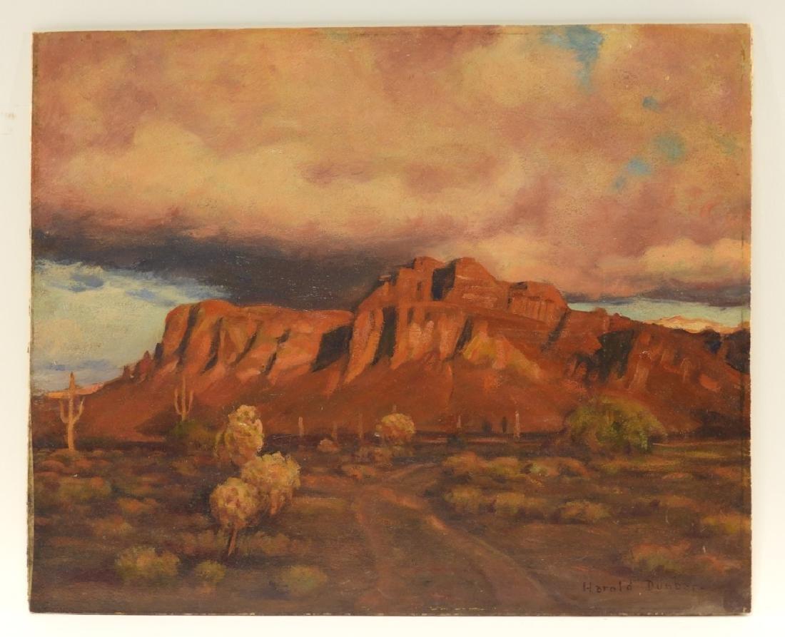 Harold Dunbar Southwestern Landscape O/B Painting