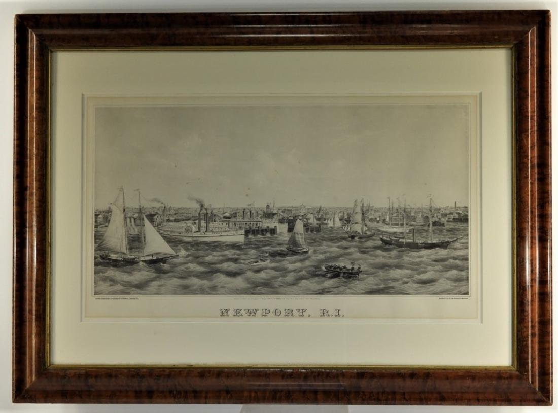 1870 J. P. Newell Lithograph of Newport Harbor