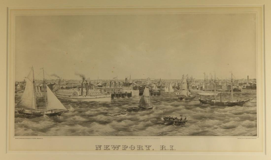 1870 J. P. Newell Lithograph of Newport Harbor - 2