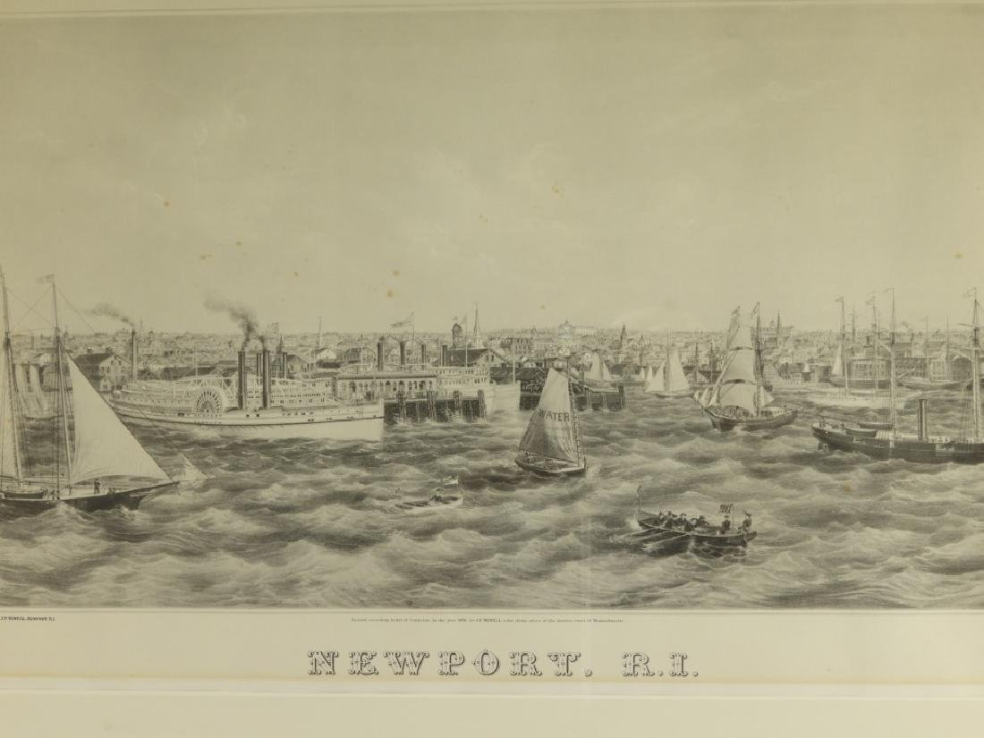 1870 J. P. Newell Lithograph of Newport Harbor - 3