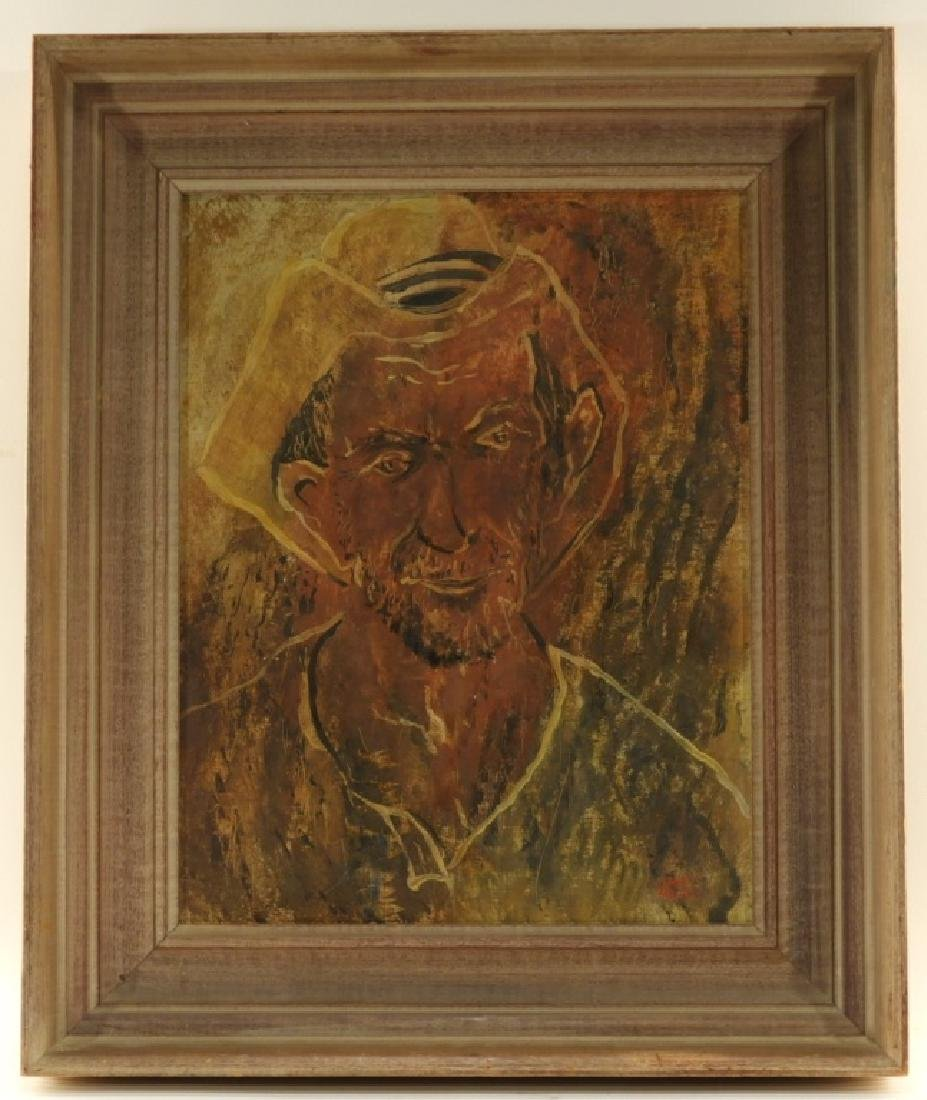 Janet Moore Expressionist O/B Portrait of Peasant