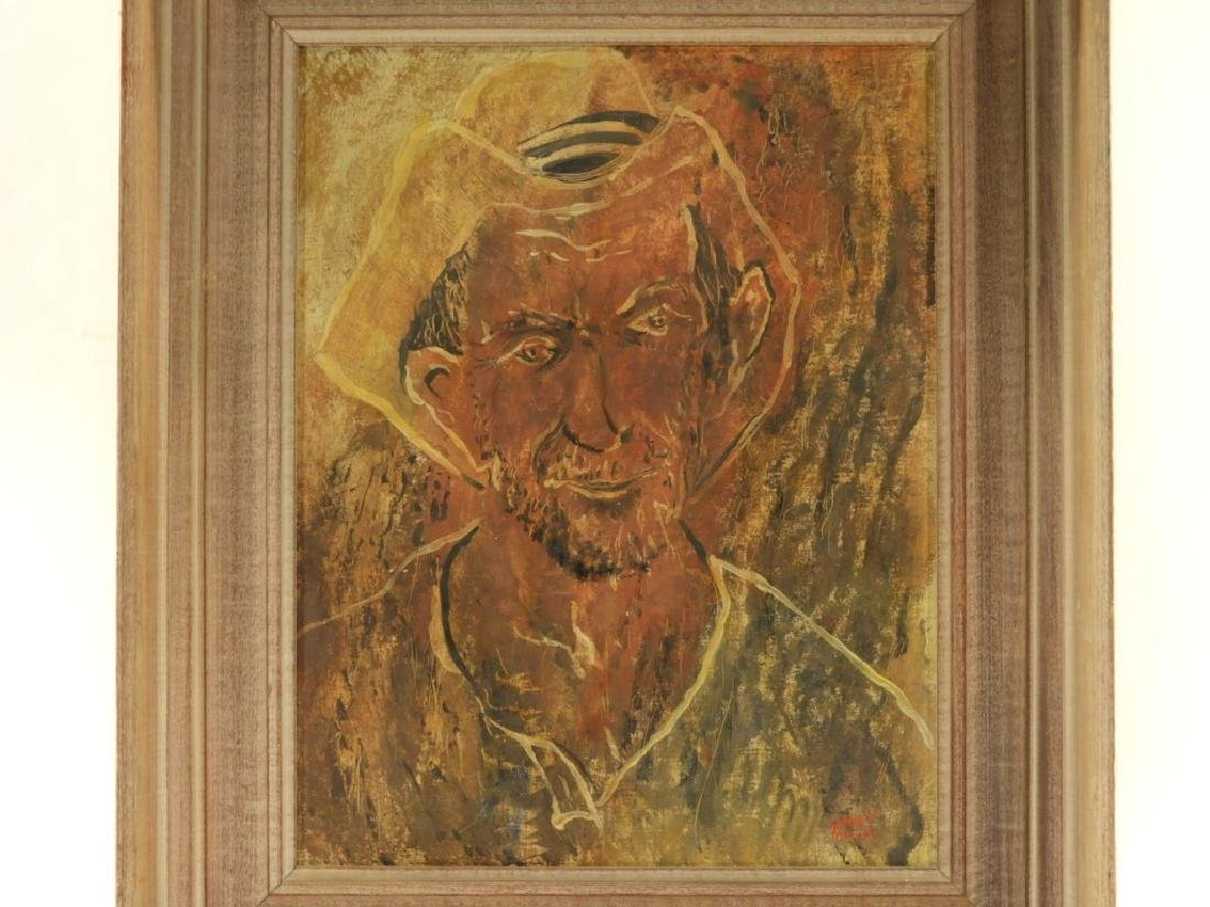 Janet Moore Expressionist O/B Portrait of Peasant - 2