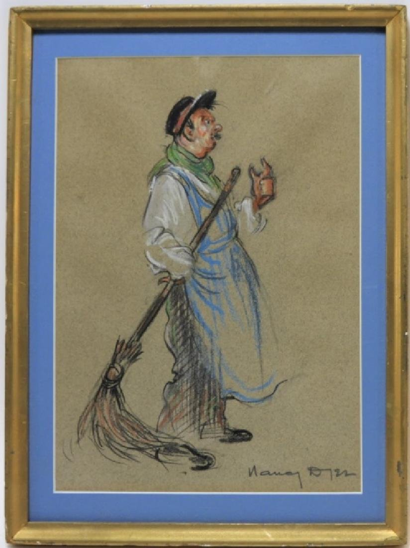 Nancy Dyer Sweeping Janitor Illustration Drawing