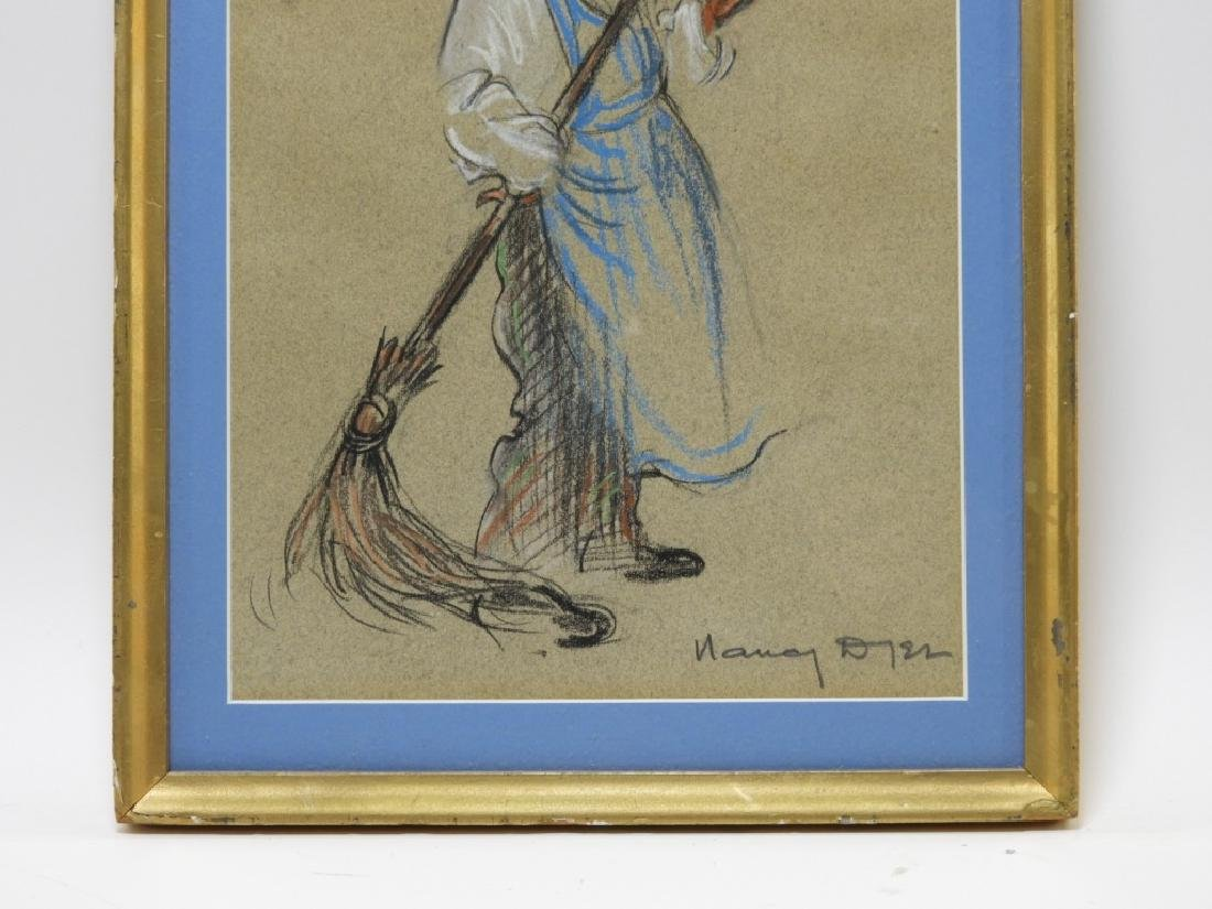 Nancy Dyer Sweeping Janitor Illustration Drawing - 3