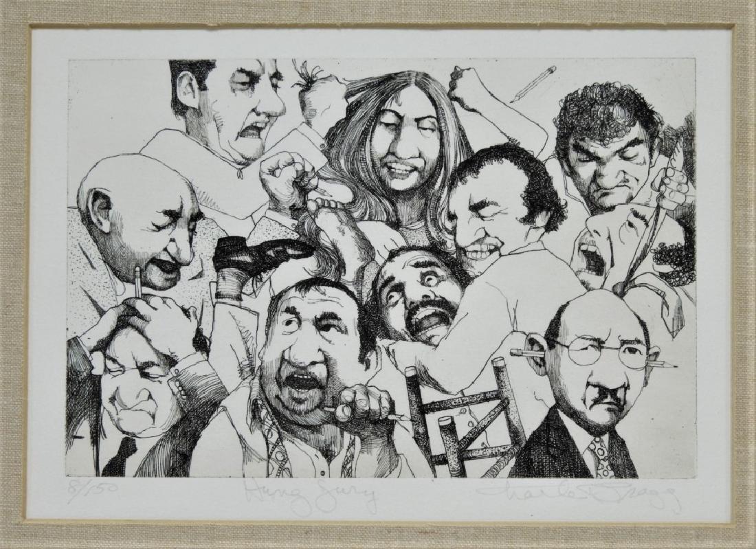 Charles Bragg Hung Jury Satirical Etching 8/150