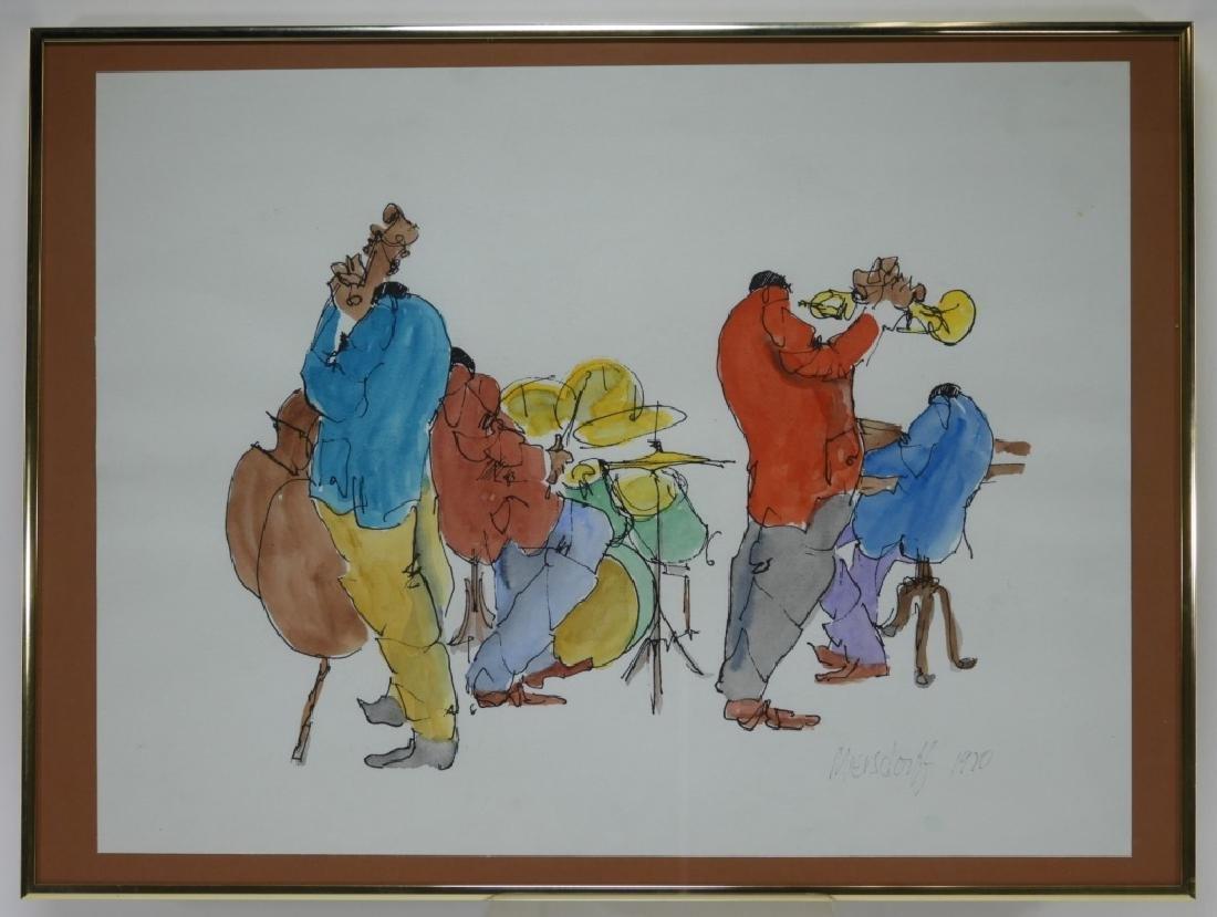 After Leo Meiersdorff Expressionist Jazz WC Painting