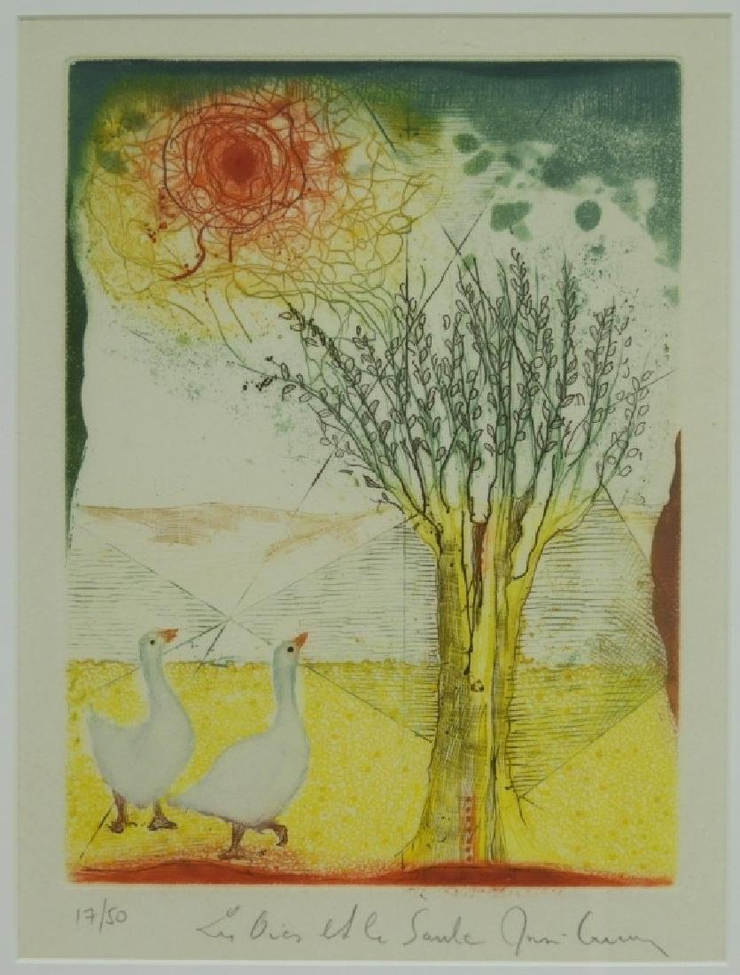 Rene Carcan Ducks and the Willow Aquatint Etching