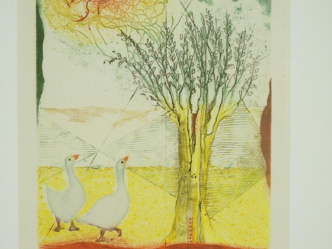 Rene Carcan Ducks and the Willow Aquatint Etching - 3