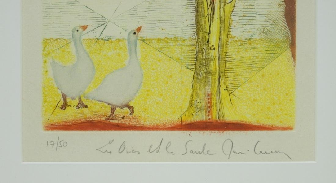 Rene Carcan Ducks and the Willow Aquatint Etching - 4
