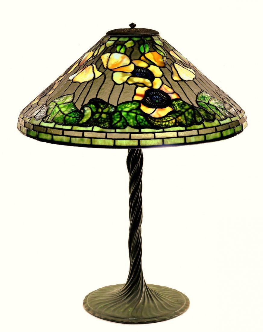 Tiffany Studios Poppy Twisted Vine Table Lamp