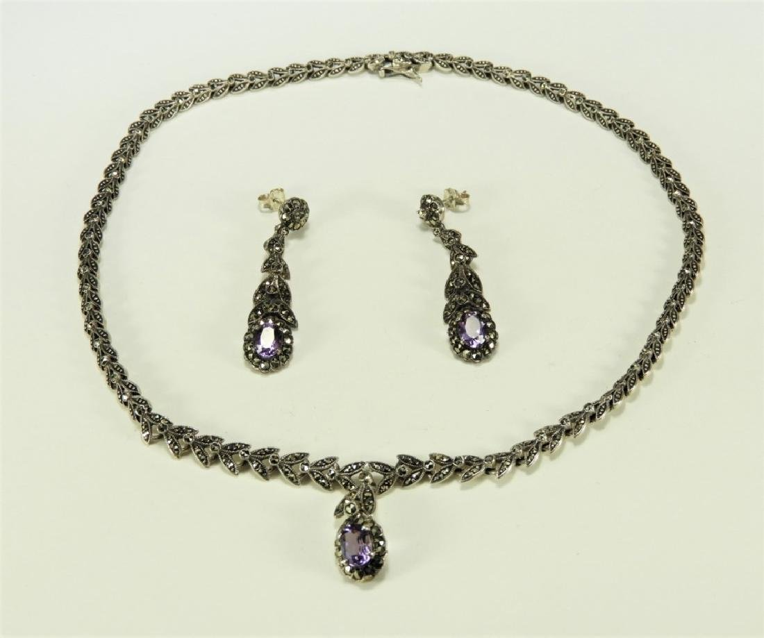 Sterling Silver Amethyst Necklace & Earring Set