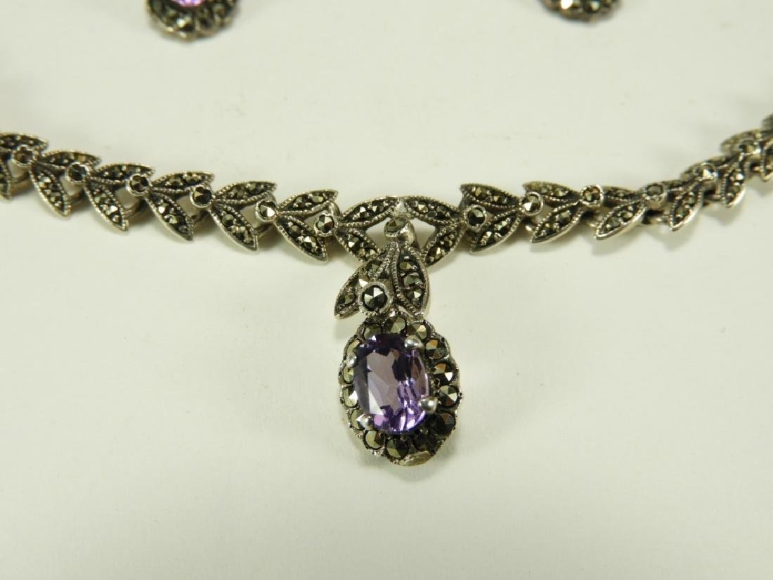 Sterling Silver Amethyst Necklace & Earring Set - 2