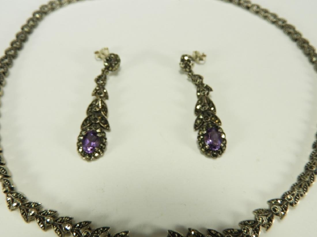 Sterling Silver Amethyst Necklace & Earring Set - 3