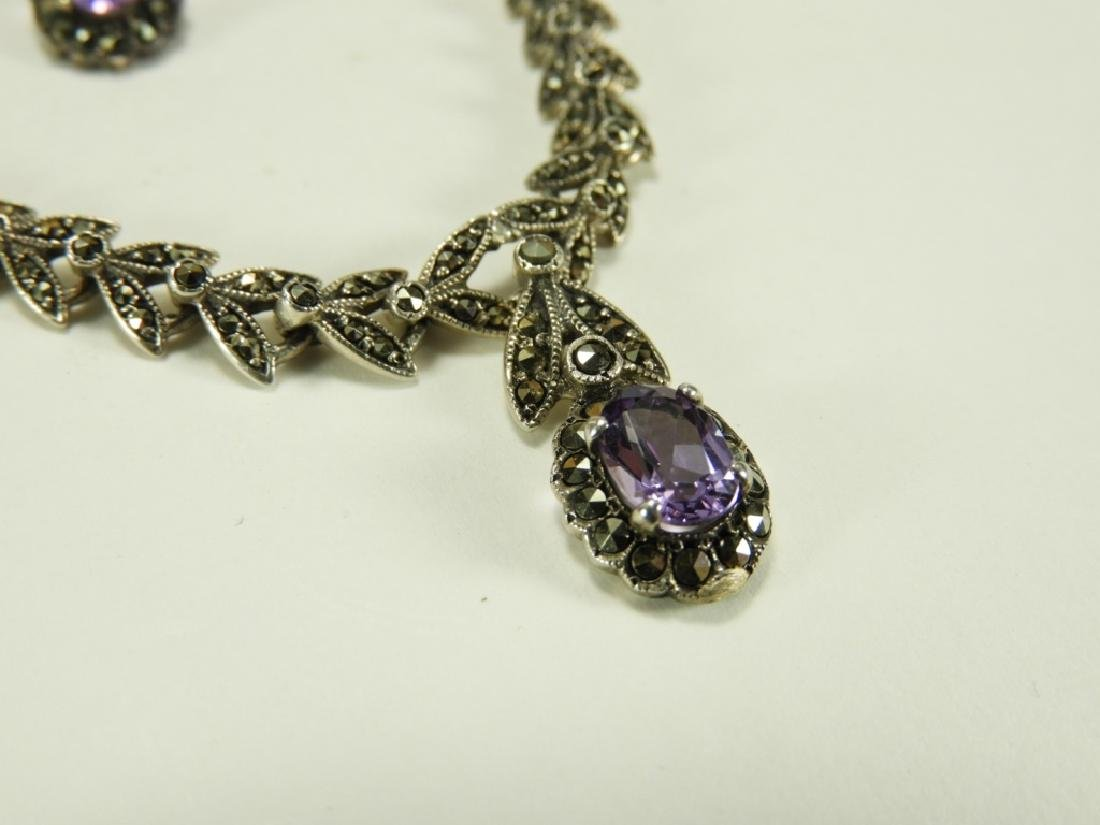 Sterling Silver Amethyst Necklace & Earring Set - 4