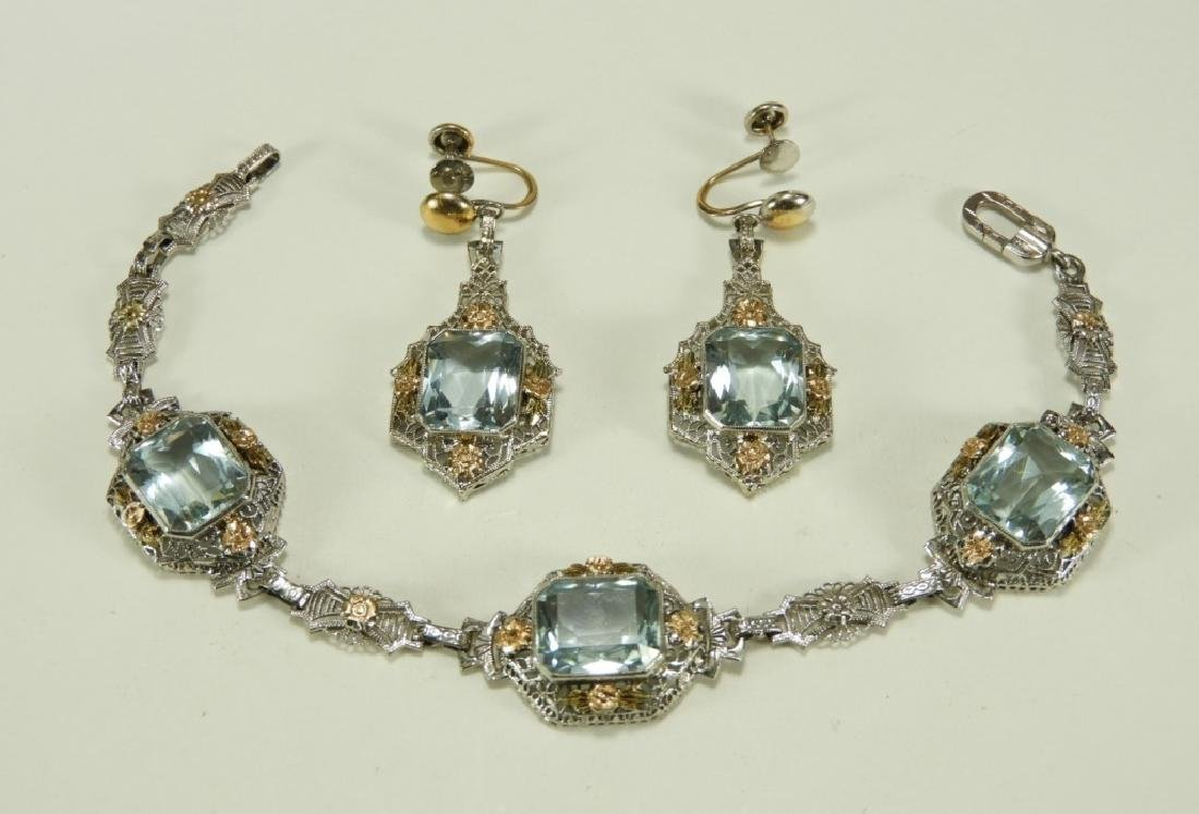 FINE Art Deco 14K Gold Aquamarine Bracelet Suite