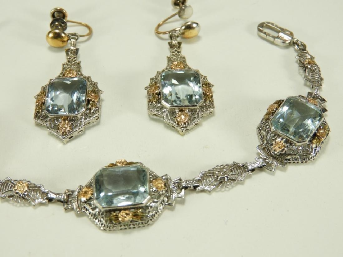 FINE Art Deco 14K Gold Aquamarine Bracelet Suite - 2